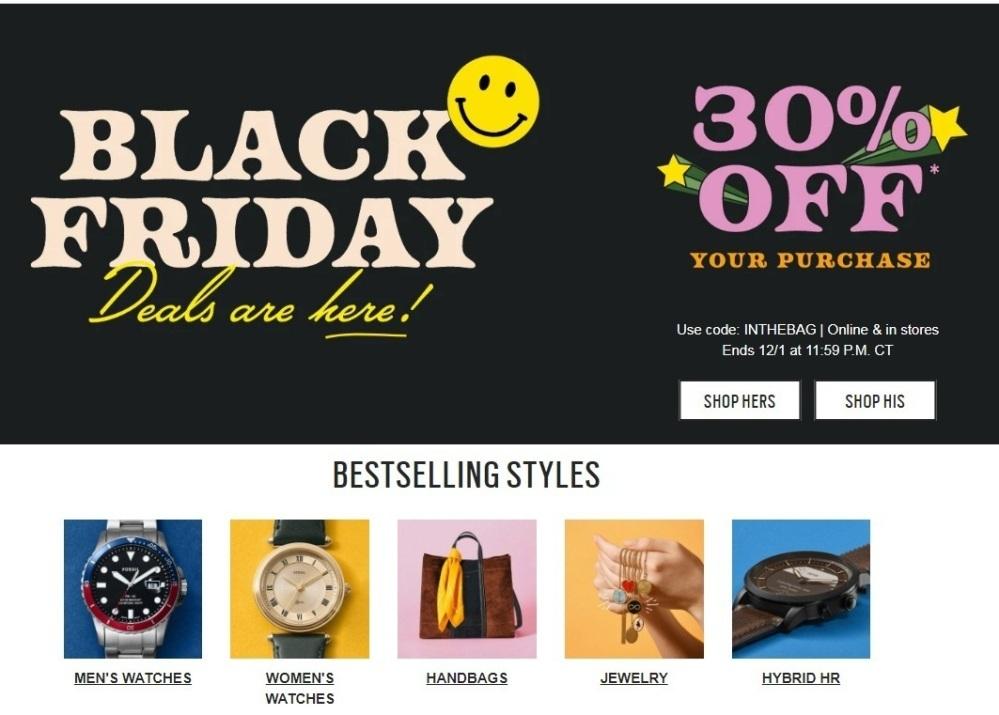 Fossil Australia Black Friday 2020 Ad