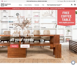 Transformertable 加拿大官网多功能折叠伸缩餐桌,椅子,板凳热卖