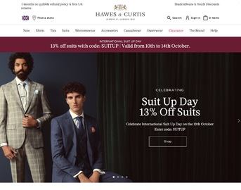 Hawes & Curtis 英国官网季中大促,精选男士衬衣西装夹克及女装特卖